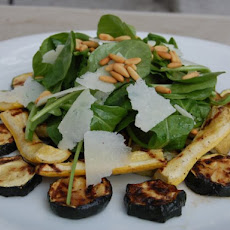 Grilled Zucchini with Arugula, Pecorino and Pinenut Salad