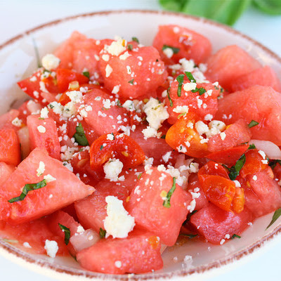 Watermelon Tomato Salad with Basil
