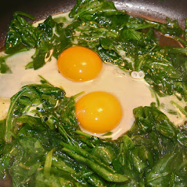 Fresh Spinach and Farm Eggs by Waynette  Townsend - Food & Drink Cooking & Baking ( dinner, eggs, breakfast, spinach, cooking, fry, meal,  )