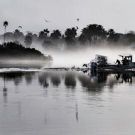 A foggy start by Ted Petrovits - Transportation Boats ( vessel, boats, ted petrovits, takethelenscapoff, boat, photography, photoart,  )