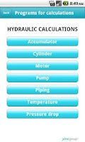 Screenshot of Hydraulic calculations
