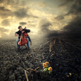 Play for life by Matej Skubic - Digital Art People ( clouds, playing, player, flower art, man, growth )
