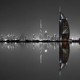 Burj Al-Arab & Jumeirah Hotel by Ashraf Ahmed Habib - Buildings & Architecture Office Buildings & Hotels ( reflection, building, black and white, burj al arab, architecture, cityscape, landscape, photography, hotels, city, dubai, buildings, burj al-arab & jumeirah hotel, hotel )