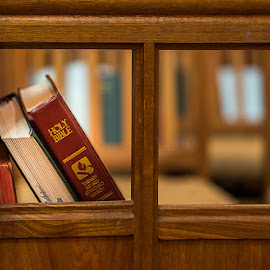Bible on Church Bench by Zdenka Rosecka - Artistic Objects Other Objects ( bible book bench church wood )