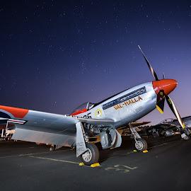 Val-Halla - P-51 Mustang by Jake Egbert - Transportation Airplanes ( oregon, night photography, 2014, stars, oregon international air show, hillsboro, val-halla, p-51 mustang, air show )