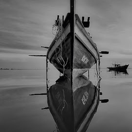 Boat by Genx Cheq - Transportation Boats ( mirror, water, reflection, waterscape, black and white, white, boat, black,  )