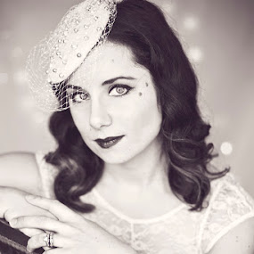 Classic Beauty by Kristen VanDeventer Rice - People Portraits of Women ( black white cap head piece brunette beauty marks lights velvet chair classic vintage bridal wedding eyes fascinator )