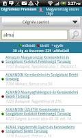 Screenshot of Cégfürkész Premium
