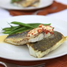 Pan-fried sea bass with Amarula and chilli butter