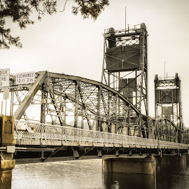 Bridge over the St Croix River by Michael Huber - Buildings & Architecture Bridges & Suspended Structures ( minnesota, stillwater, bridge, desaturated, river )