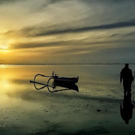 Sunrise' Shot by Ina Herliana Koswara - Landscapes Sunsets & Sunrises ( water, sky, sanur, beach, sunrise, morning, boat )