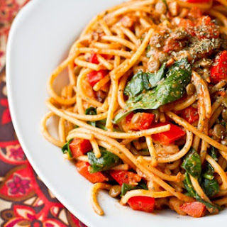Olive Oil Pasta with Walnuts, Lentils, and Red Peppers
