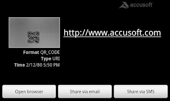 Screenshot of Accusoft Barcode Scanner