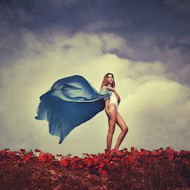 5/52 by Katarina Veselič - Digital Art People ( red, girl, leafs, blue, cloak, robe )