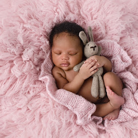 Pretty In Pink by Michelle McClafferty - Babies & Children Babies ( studio, bunny, michelle mcclafferty, lovey, child photography, pink, raleigh newborn photography, baby, baby photography, posed, newborn )