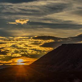 Sunset along Old 91 by Leslie Nu - Landscapes Sunsets & Sunrises ( clouds, az, mountain, sunset, rays, sun, nv )