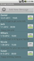 Screenshot of Message Schedules