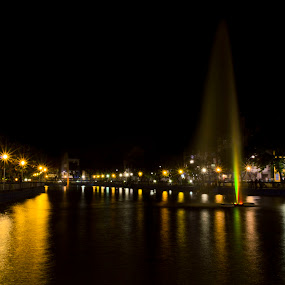 glorious evening by Jayanti Chowdhury - City,  Street & Park  Night ( lights, kolkata, fountain, india, night, lake, longexposure )