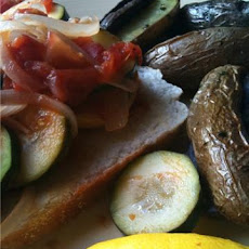 Spicy Zucchini Sauté over Garlic Bread with Roasted Lemon-Thyme Potatoes