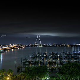Florida Lightning by Sean Malley - City,  Street & Park  Skylines ( lightning, long exposure, night, cityscape, river, nightscape )