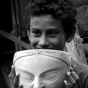 Mother's protection by Protim Banerjee - People Professional People ( protection, child, artistry, smile, black and white, b&w, portrait )