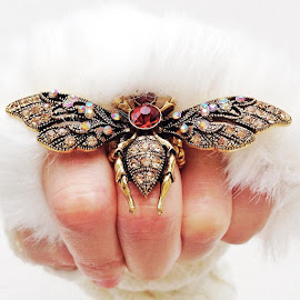 Jeweled Queen Bee by Nikita Hengbok - Artistic Objects Jewelry ( ring, fashion, queen bee, queen, bee, diamonds, art, jewelry, crystal, object, jewel, artistic, nikita hengbok )