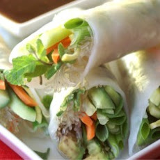 Fresh Spring Rolls with Wasabi Ginger Dipping Sauce