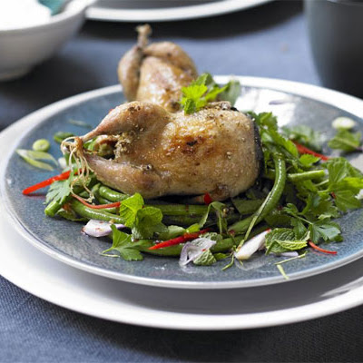 Salt & pepper quails with Thai herb & bean salad