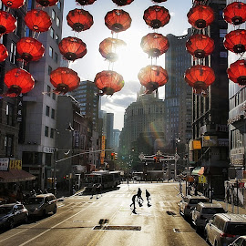 Red Lamps by Jose Figueiredo - City,  Street & Park  Historic Districts ( lamps, chinatown, town, new york city )