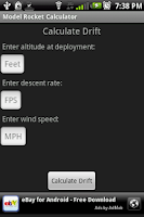 Screenshot of Model Rocket Calculator