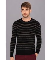 John Varvatos - Brushed L/S Striped Sweater (Black) - Apparel