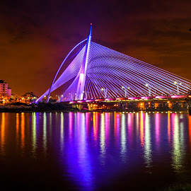 My PUJ Bridge by Syahrul Nizam Abdullah - Buildings & Architecture Bridges & Suspended Structures ( mood, mood factory, holiday, christmas, hanukkah, red, green, lights, artifical, lighting, colors, Kwanzaa, blue, black, celebrate, tis the season, festive )