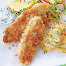 Sautéed Fish Sticks with Chips and Slaw