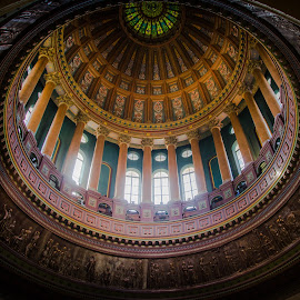 Illinois State Capital Rotunda by Gary Hanson - Buildings & Architecture Public & Historical ( illinois, colorful, round, capital, rounda )
