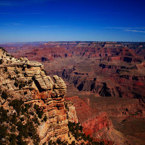 Grand Canyon View by Ron Jnr - Landscapes Mountains & Hills ( deep canyon, cliffs, blue sky, view point, usa, rocks, shadows, grand canyon )
