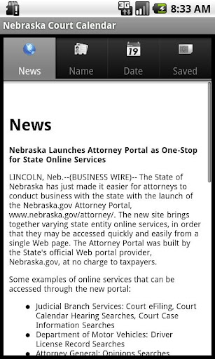 Nebraska Court Calendar Search
