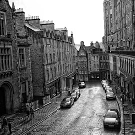 Ancient Street by Kate Purdy - City,  Street & Park  Historic Districts ( scotland, edinburgh, black and white, old world, historical, cityscape, city,  )