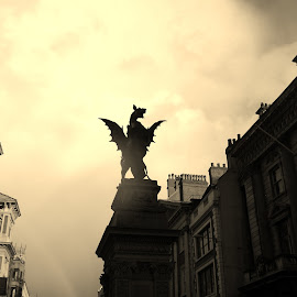 Welcome to London by Lindsay Jones - Buildings & Architecture Statues & Monuments ( statue, sepia, london, back lit, dragon )