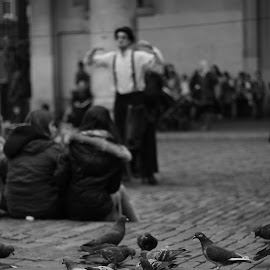 by Tom O Neill - People Musicians & Entertainers ( pigeons, covent garden, london, black and white, street, charlie chaplin, mime, birds, street photography )