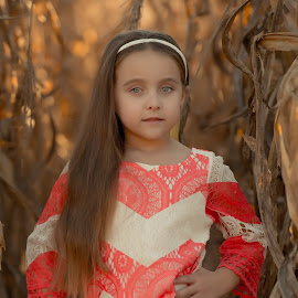 In the Corn by Jody Johnson - Babies & Children Children Candids ( farm, cornfield, fall, photorad, chevron )