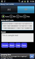 Screenshot of Binary Text co/dec Mobile