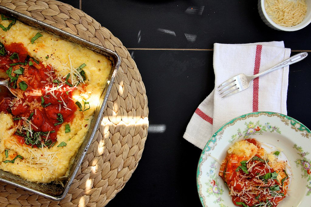 Baked Polenta with Tomato and Basil Recipe | Yummly