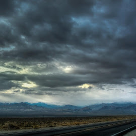 Long Way Home - Loneliest  Hwy in the US 50 Nevada by Sam Okamoto - Landscapes Deserts
