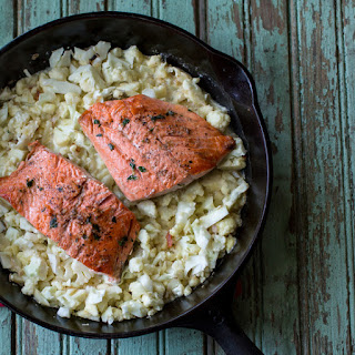 "Thyme-Rubbed Salmon with Cauliflower ""Risotto"""