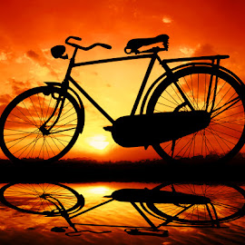 pit jowo by Indra Prihantoro - Transportation Bicycles ( sunset, transportation, bicycle )