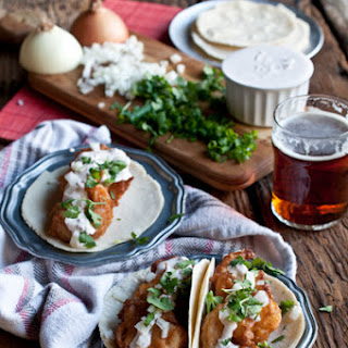 Beer Battered Shrimp Tacos with Chipotle Lime Crema