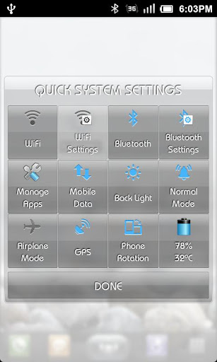 Quick Settings Application