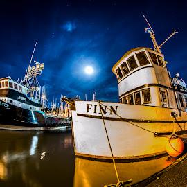 Moonlit Harbor by Jacob Chanley - Transportation Boats ( water, moon, fishing, boat, dock )