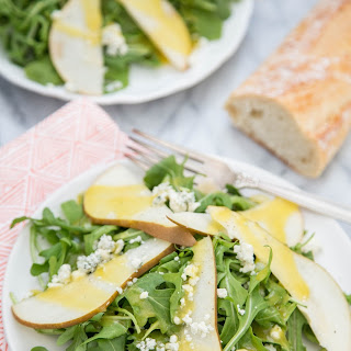 Arugula, Pear & and Blue Cheese Salad with Warm Vinaigrette