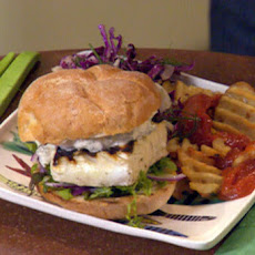 Grilled Fish Sammies with Garlic Tartar Sauce and Baked Waffle Fries with Spicy Bloody Ketchup and a Slaw Salad